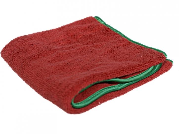 Chemical Guys Fluffer Microfasertuch rot mit grünem Rand 60 x 40 cm,