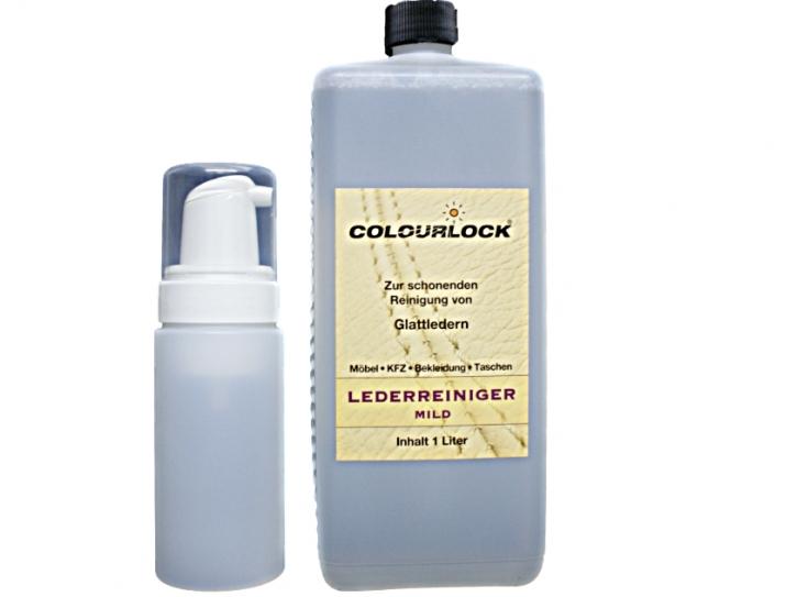 Colourlock Lederreiniger mild 1000 ml inkl. Colourlock Schaumspender Flasche leer 125 ml