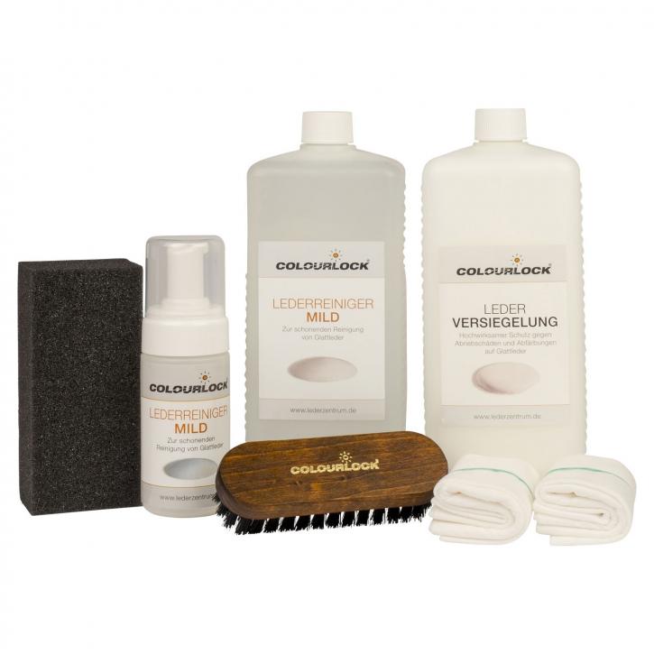 Colourlock Neuleder Pflegeset GROß, Reiniger mild, Versiegelung,Schwamm & Tuch