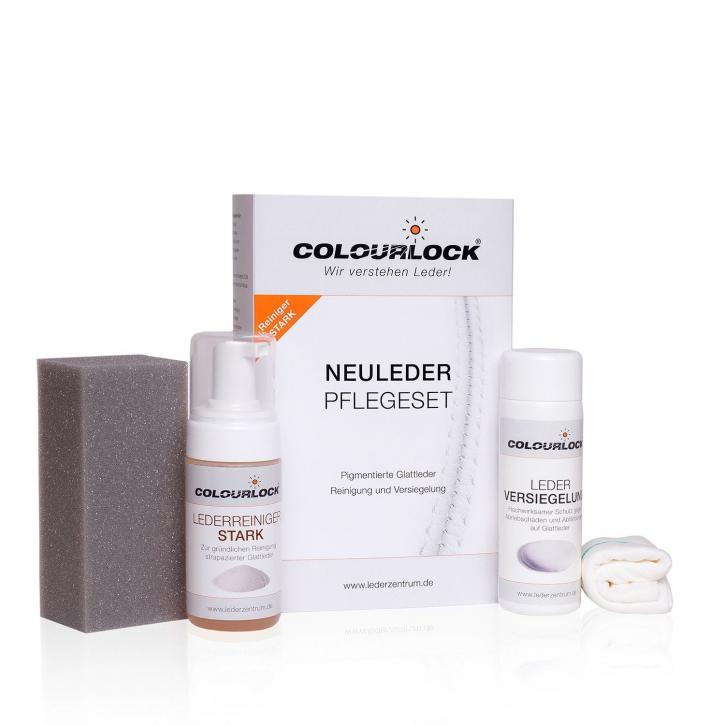 Colourlock Neuleder Pflegeset stark Reiniger, Versiegelung,Schwamm & Tuch