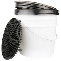 DFT Wascheimer System 3,5 Gallonen mit Grit Guart Seal Cover und Chemical Guys Dirt Trap Black