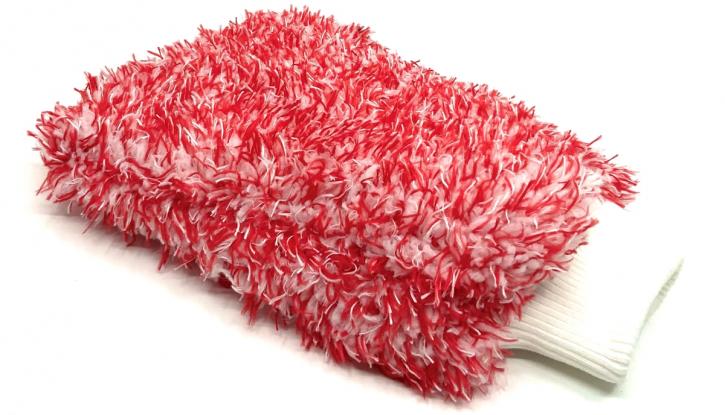 DFT Rotweiss Chenille-Microfaser Washmitt Waschhandschuh