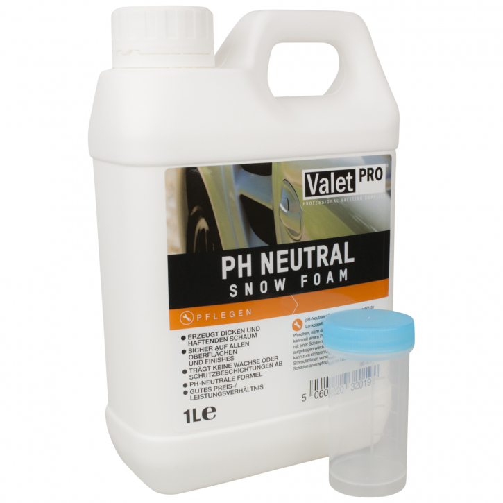 Valet Pro -PH Neutral Snow Foam Shampoo 1 Liter inkl. DFT-Dosiergefäß