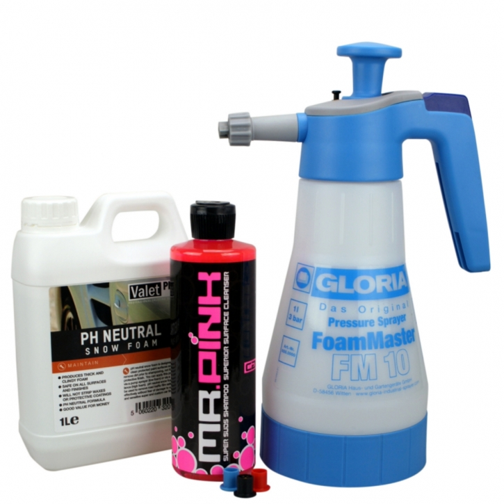 Gloria Foam Master FM10 Schaumsprüher + Chemical Guys Mr pink Shampoo 473 ml + ValetPRO Neutral Snow Foam Shampoo 1 Liter