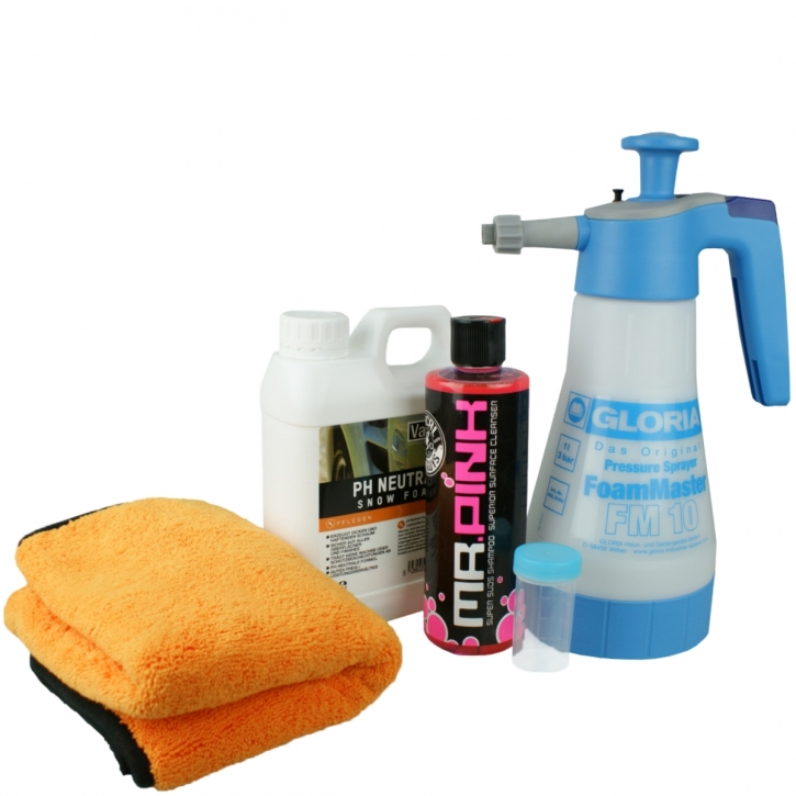 Gloria Foam Master FM10 Schaumsprüher + Chemical Guys Mr pink Shampoo+ ValetPRO Neutral Snow Foam Shampoo