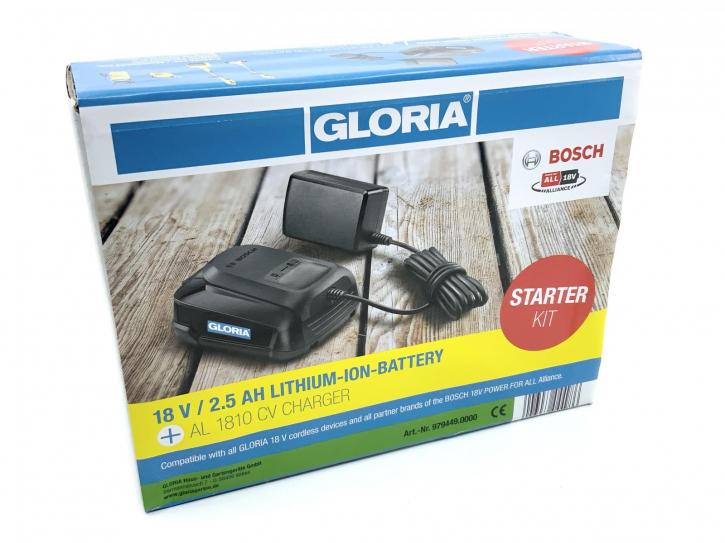 Gloria BOSCH Akku 18V Starter-Kit mit 2,5 AH Akku und Ladegerät