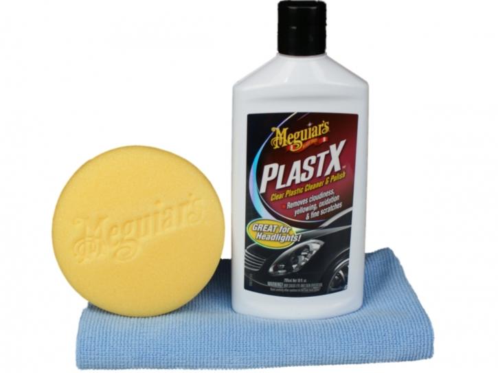 Meguiar`s PlastX-Plastikpolitur Set mit Meguiars Applicator & DFT Microfasertuch,