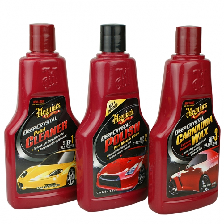 Meguiar`s Deep Crystal Set Step 1-3 Cleaner,Polish,Carnauba-Wachs