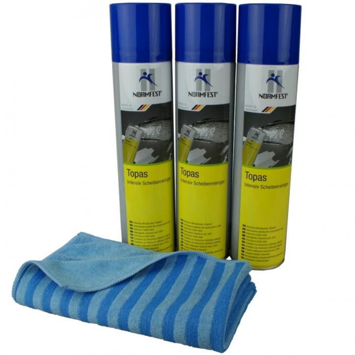 Normfest Topas Scheibenreinigungsschaum 3x 400 ml inkl. DFT Glastuch blau