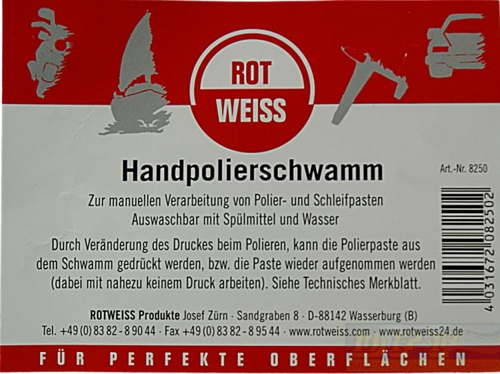 ROTWEISS Handpolierschwamm weiß- Polierschwamm ideal für Schleifpasten,