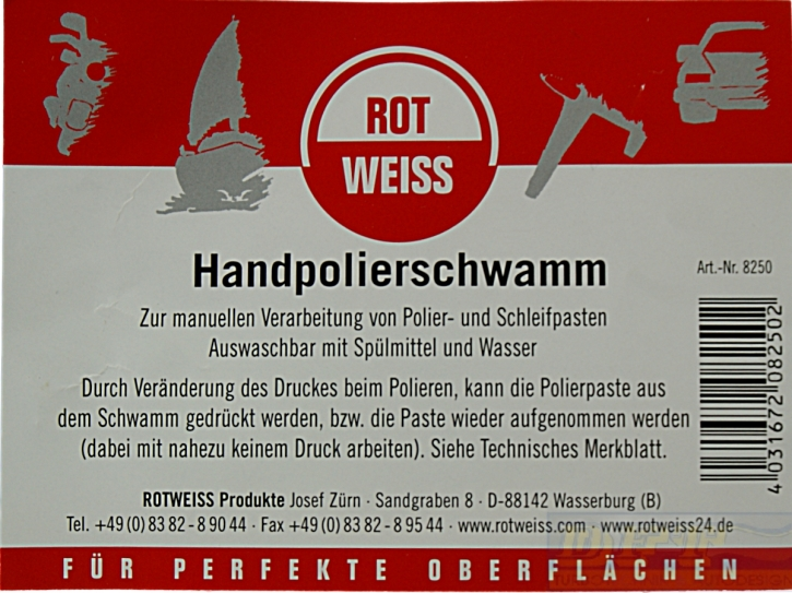 rotweiss handpolierschwamm wei polierschwamm ideal f r schleifpasten 700061. Black Bedroom Furniture Sets. Home Design Ideas